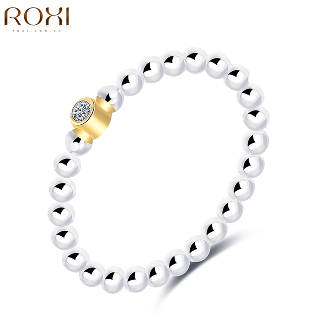 ROXI 925 Sterling Silver Jewelry Band Ring CZ Crystal Zirconia Luxury Womens Wedding Bridal Engagement Rings Anillos Mujer