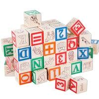 赤ちゃんのおもちゃabc/123木製キューブ図形ブロック教育早期学習おもちゃ50ピースアルファベットビルディングブロックポーチクリスマスギフ
