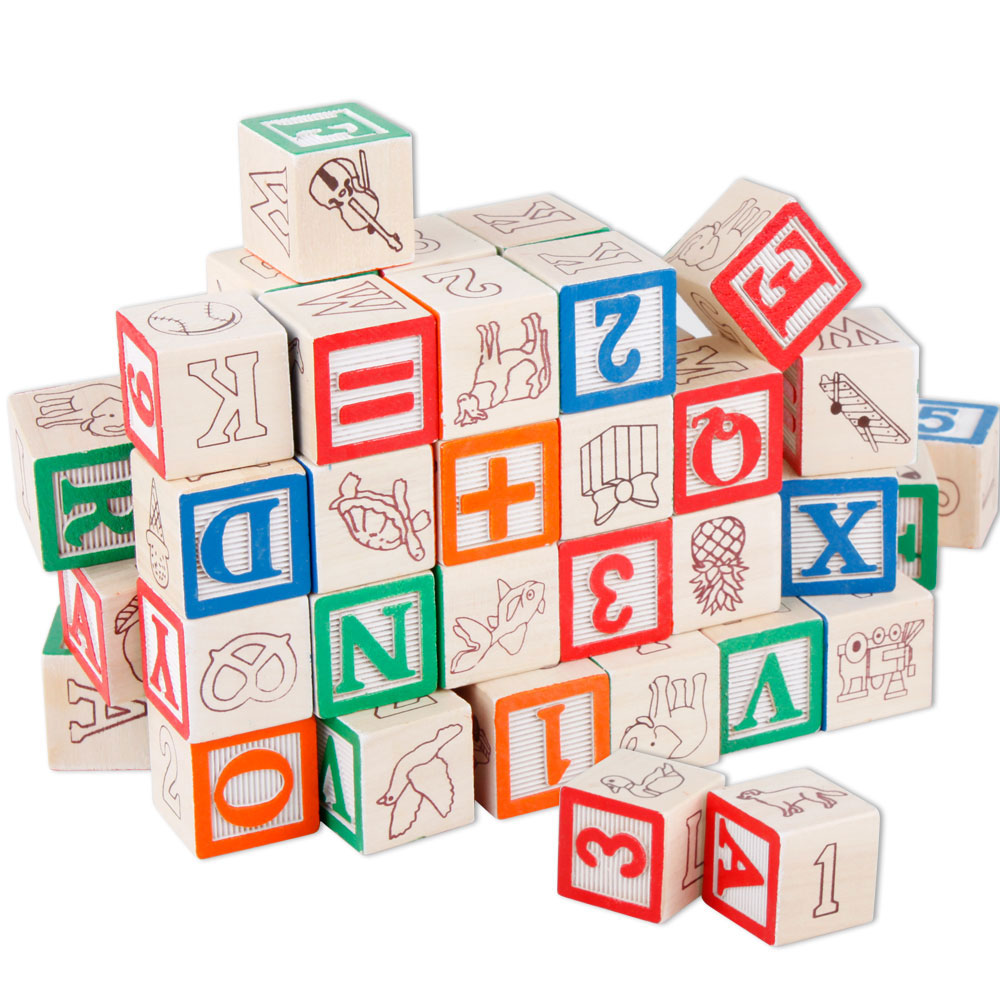 COLORBABY/ /Cube Blocks /& Wooden Figures Cubo 50 bloques y figuras de Madera