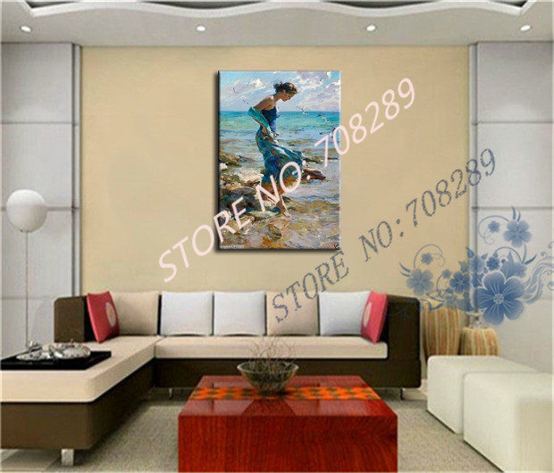 The sea of beauty high quality ensure Hand painted Home decoration Seashore woman the Modernist Wall art Oil Painting Picture