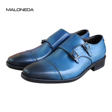 Bespoke Goodyear Welted Blue Genuine Leather Double Buckles Monk Strap Footwear Handmade Dress Shoes Cap Toe