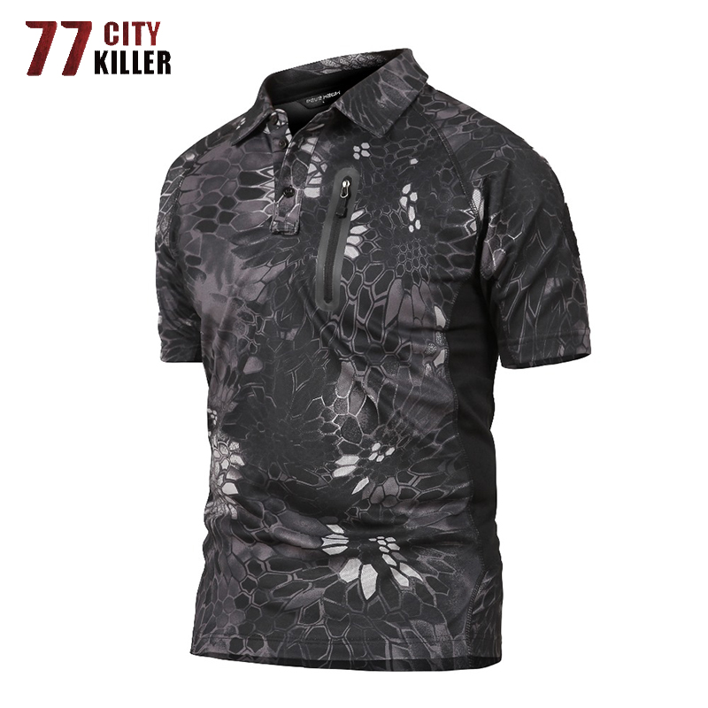 77City Killer Combat Tactical Polo Shirt Men Summer Military Quick Dry Camouflage Polo Shirts Male Breathable Polos Para Hombre