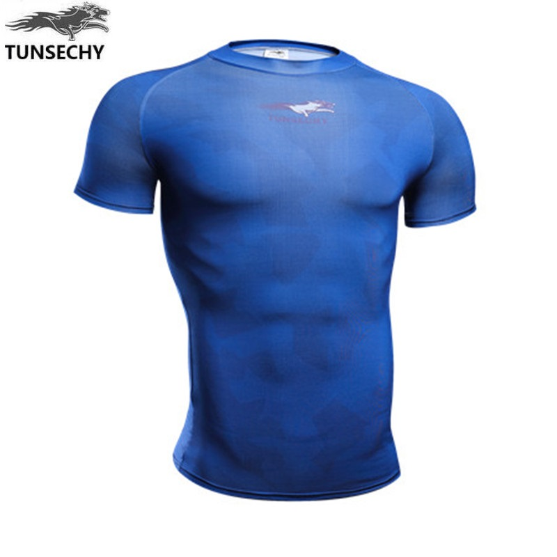 TUNSECHY 2017 Brand fashion design round collar short sleeve T-shirt digital printing compression T-shirts Wholesale and retail