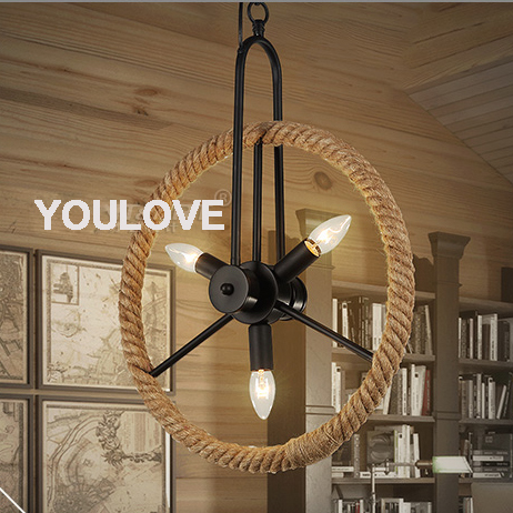 Hemp Rope Lamps Round Wheel Droplight American Country Pendant Lights Fixture Home Indoor Lighting Dining Room Cafes Pub Light ...