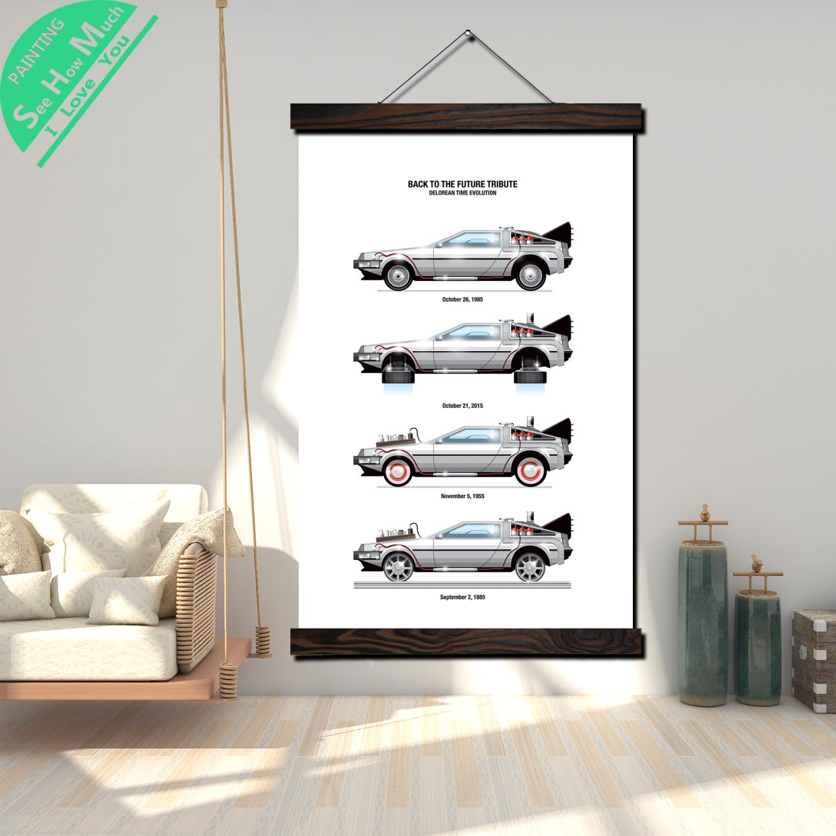 Back to the Futur Tribute Evolution of the Car Scroll Painting Canvas Vintage Poster and Prints Wall Art Picture Home Decoration in Painting Calligraphy from Home Garden