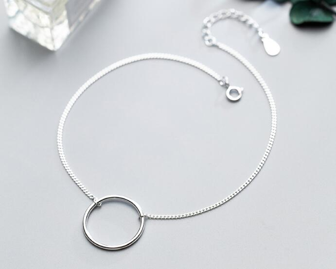 100% Authentic Real. 925 Sterling Silver Fine Jewelry Geometric Lucky Open Circle Anklet Bracelet GTLS697