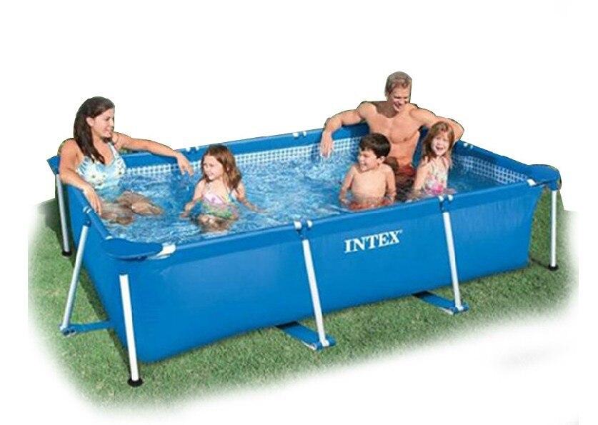 Большой Размер прямоугольная рамка, бассейн синий из экологического ПВХ. Для всей семьи, оборудование для водных видов спорта 260*160*65 см