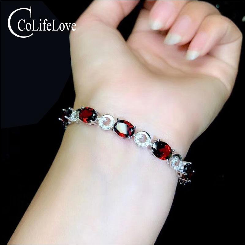CoLife Jewelry Wine Red Garnet Silver Bracelet for Office Woman Natural VVS Grade Garnet Bracelet 925 Silver Garnet Jewelry