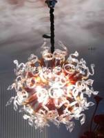 Vintage Rodada AC UL LED Hand Blown Art Glass Chandelier Iluminação