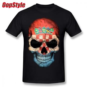 Camiseta de calavera con bandera croata para hombre, Camiseta de talla grande de algodón para equipo, Camiseta 4XL 5XL 6XL