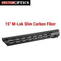Вектор Оптика 15 дюймов углеродного волокна полимера MLOK Ultra Slim M LOK Бесплатная Float Handguard. 223 5,56 AR15 M4 Пикатинни AR 15