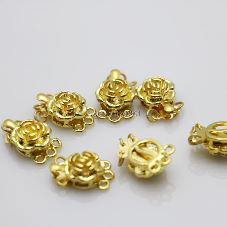 10PCS Jewelry Clasp Rose button Metal DIY Fittings for Accessory for Necklace Bracelet Machining metal parts 3ROW Gold-Color