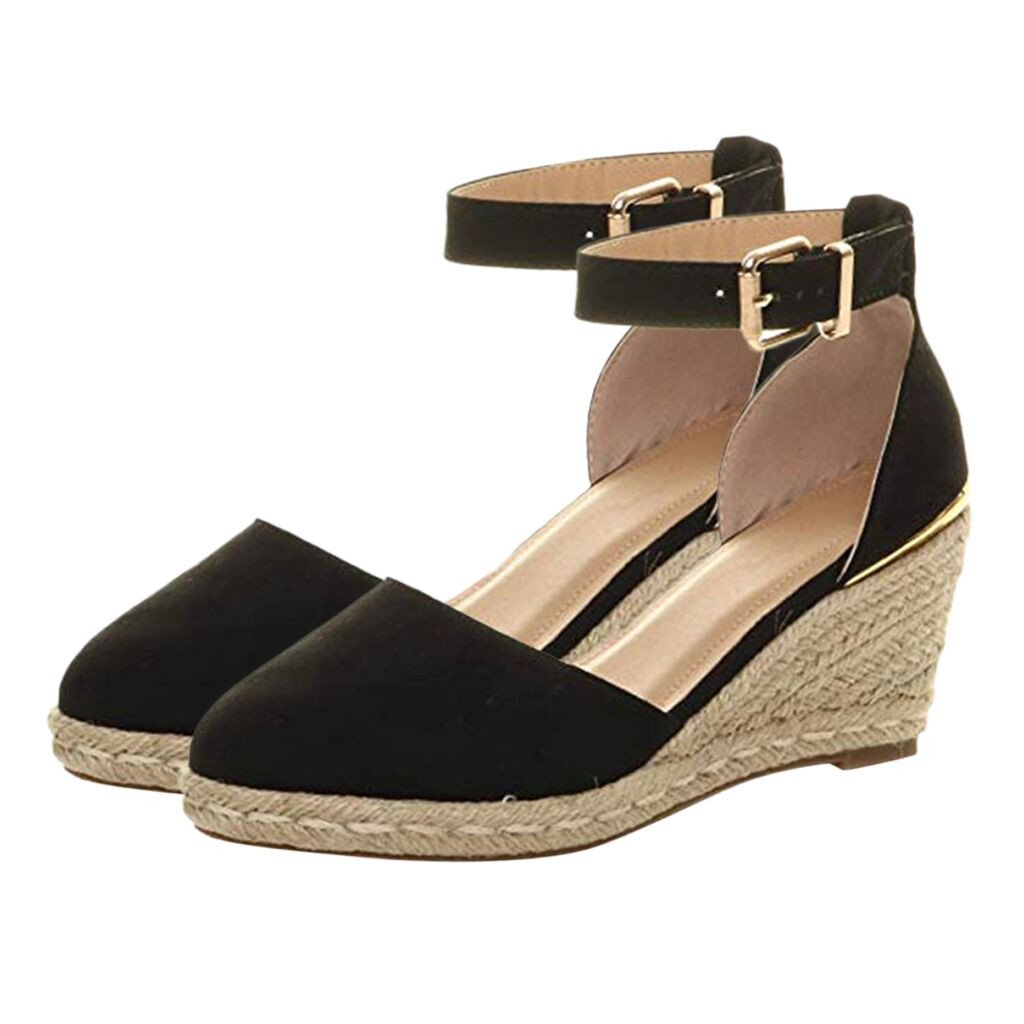 JAYCOSIN Sandals Wedges Shoes Weaving Ankle-Strap 40 Buckle Breathable