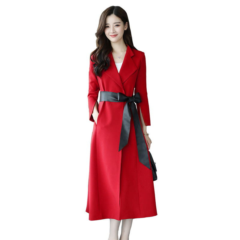 New Windbreaker Female Red Black Long   Trench   Coat Women Cardigan Fashion Elegant Coat Women Clothes Lace Up   Trench   Outwear C4673