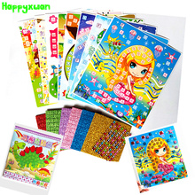 Happyxuan 8 Bilder Kid DIY Glitter Eva Mosaic Art Sticker Pussel med Diamond Gift Set Förskoleutbildning Creative Toy