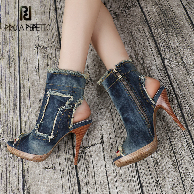 Prova Perfetto Ankle Boots for Women Peep Toe High Heels Casual Denim Boot Jean Botas Mujer