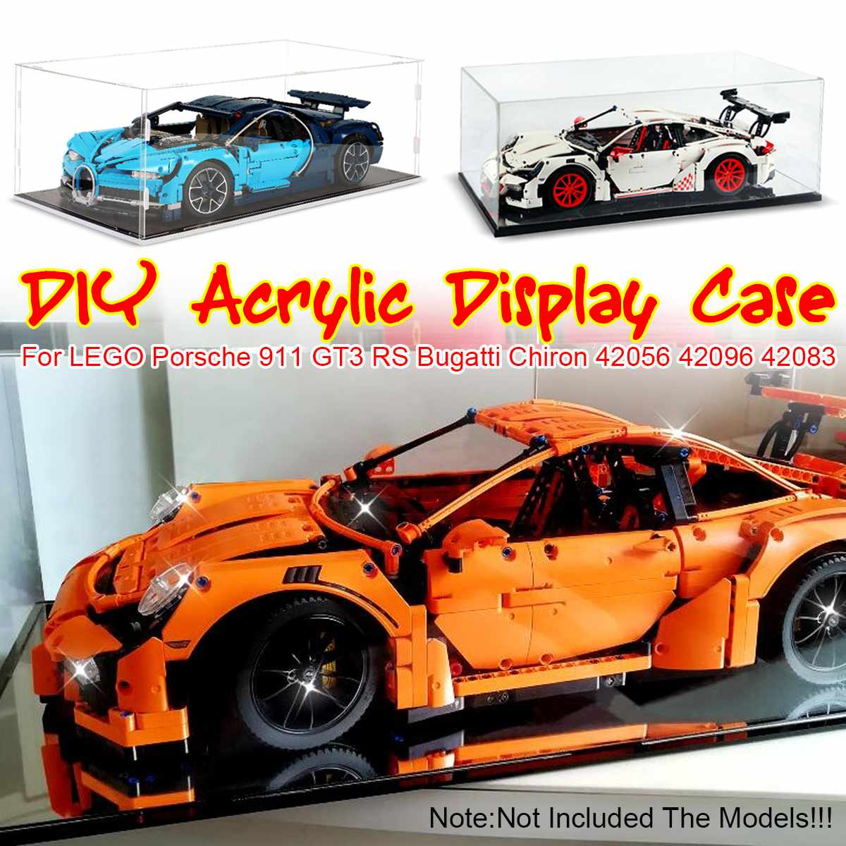 Acrylic Display Case for <font><b>Lego</b></font> <font><b>42056</b></font> for Bugatti Chiron for Porsche 911 GT3 RS <font><b>Technic</b></font> Series Toy Bricks ( Model not Included) image