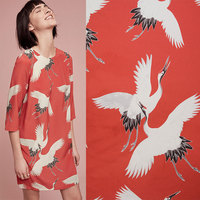 BZ7 100 140cm Red Silk Fabric The Crane Printed Dress Fabric For Clothing Patchwork DIY Fabric