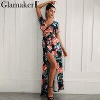 Glamaker Floral Summer Dress Women Sexy High Slit Long Dress Printed Maxi Beach Dress Female Vestidos