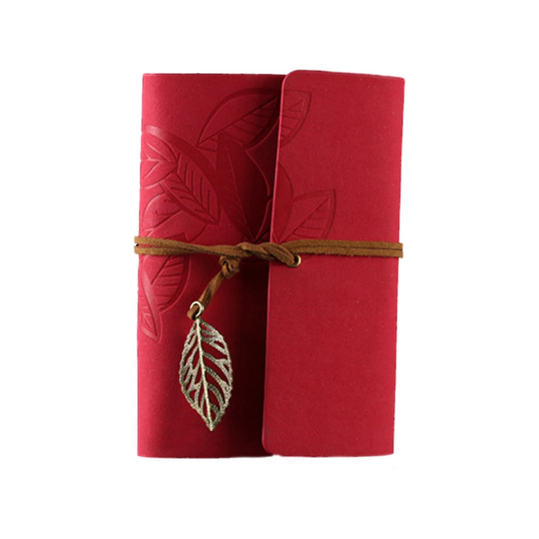 Vintage Leaf PU Leather Cover Loose Leaf Blank Notebook Journal Diary Gift (Rose red)