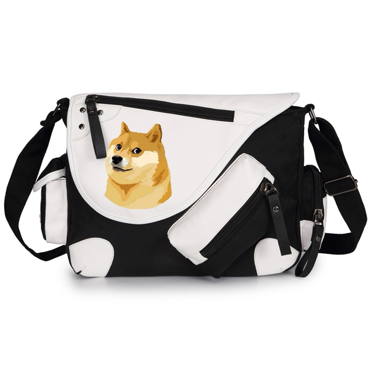 ФОТО Japan Anime Doge Dog Shiba Inu Canvas Casual Zipper Boys Girls Shoulder Bag Crossbody Bags Schoolbags Messenger Bag Gift