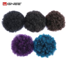 Wignee Puff Afro Short Kinky Curly Chignon Hair Extension For Women Bun Drawstring Ponytail Wrap Synthetic Black Blue Fake