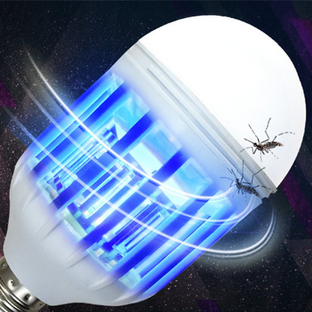 E27 LED Bulb Mosquito Electronic Killer Night Light Lamp Insect Flies Repellent House Accessories Blue Lighting 220V Wholesale e27 15w 2u uv curing light sterilization disinfection mosquito killer light bulb 220v
