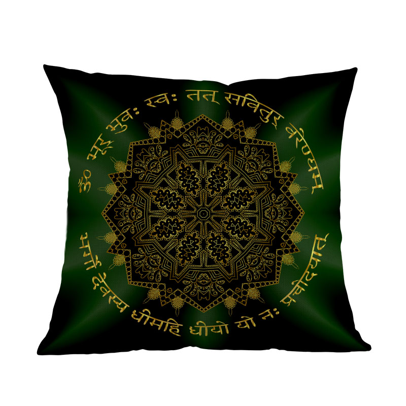 Islamic Mandala Geometry Golden Pattern Emerald Glow Pillow Case Home Religion Sofa Decoration Cushion Cover