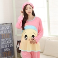 Retail Lovely Cartoon Maternity Clothes for Pregnant Women Pregnancy Sleepwear Long Sleeves Breastfeeding Clothing Home Wear