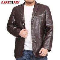 LONMMY 6XL 7XL 8XL Leather jacket men blazer Mens jackets and coats Tuxedo suits mens Outerwear 2019 jaqueta KHAKI BLACK