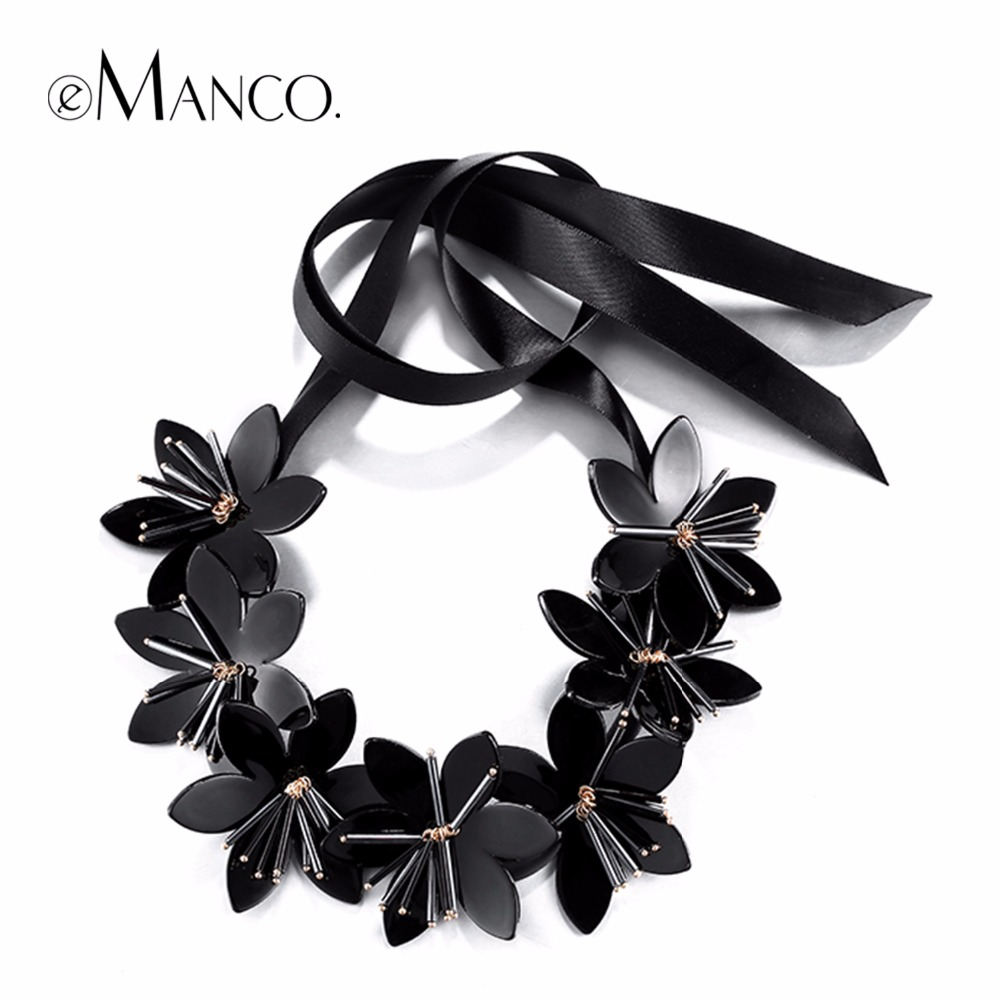 eManco Stylish Romantic Flowers Statement Necklace & pendant Women Black Glass Imitation Stone Resin Ribbon Adjustable Jewelry держатель напитков в авто 1