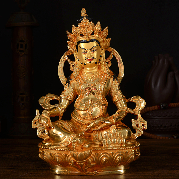 wholesale 21CM HOME family efficacious Talisman Buddhism full Gilding Yellow Jambhala Zambala gold Buddha brass statue
