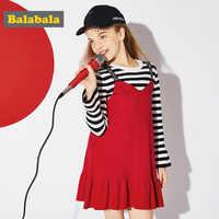 Balabala vestiti bambina delle ragazze del vestito a maniche lunghe abiti in maglia per le ragazze costumi per i bambini per il nuovo anno ragazza abiti
