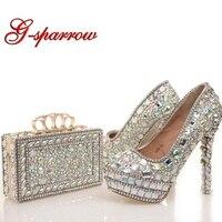 2018 новые дизайнерские Crystal AB свадебные туфли с подходящая Сумочка красивая свадебная обувь для выпускного бала Высокие каблуки с муфтой