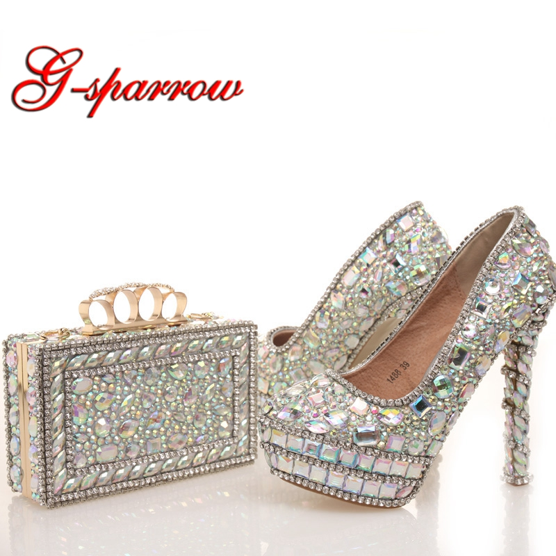 2018 New designer AB Crystal Wedding Shoes with Matching Bag Beautiful Bridal Dress Shoes Prom Party High Heels with Clutch