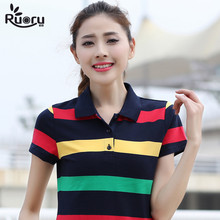 Ruoru M- 6XL Large Size Cotton Striped Ladies Polo Shirt Casual Slimming Short Sleeve women's Polo Shirt Fashion Polo Femme