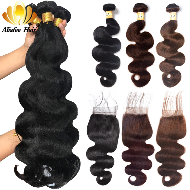 Aliafee Hair 4 Brazilian Body Wave Bundlar With Closure Deal - Mänskligt hår (svart)