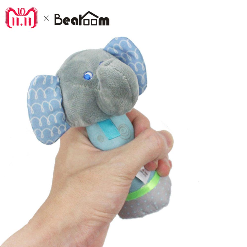 лучшая цена Bearoom Rattle Elephant Baby Rattles Mobiles Baby Toy Soft Hand Bell Cartoon Plush Crib Hanging Toy Learning Education Resources