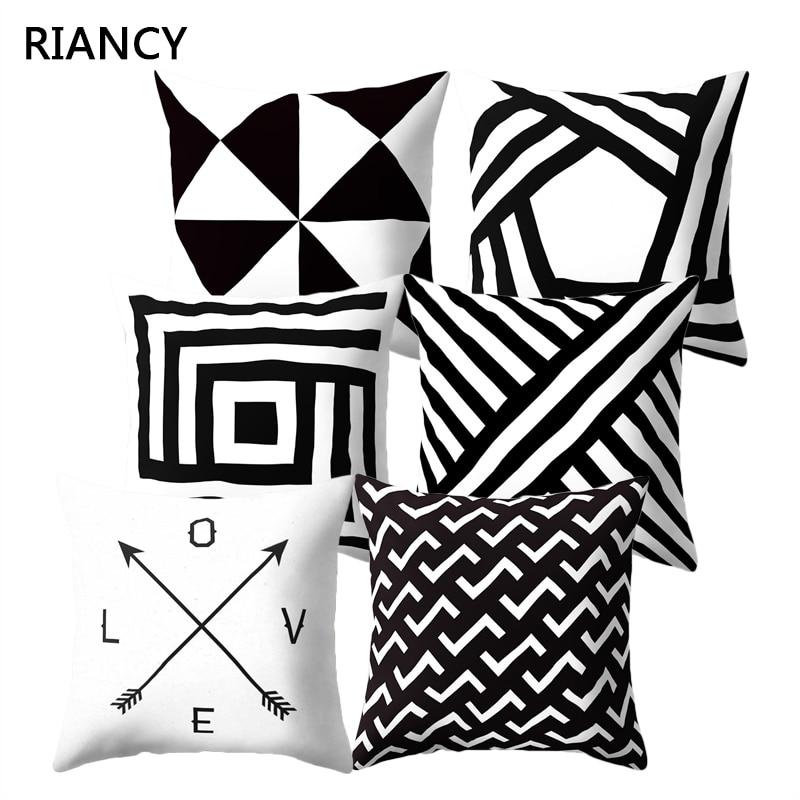 Coussin De Salon Decorative Black Geomatric Polyester Cushion Cover For Sofa Living Room Pillowcase Housse Coussin 45*45 40525