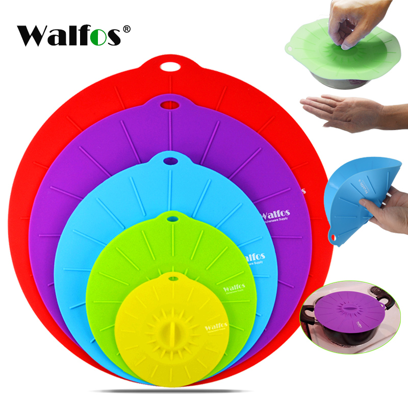 WALFOS Silicone bowl cover food saver Pot Lid Cover For Pan Flower Shape Spill Stopper Cooking Tool lid microwave cover