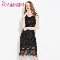 AMBMCM Sequins Dress Women Sequined Tassels Dress Beaded Sequined Casual Dress Vintage Party Evening Dresses Graceful Slim Dress
