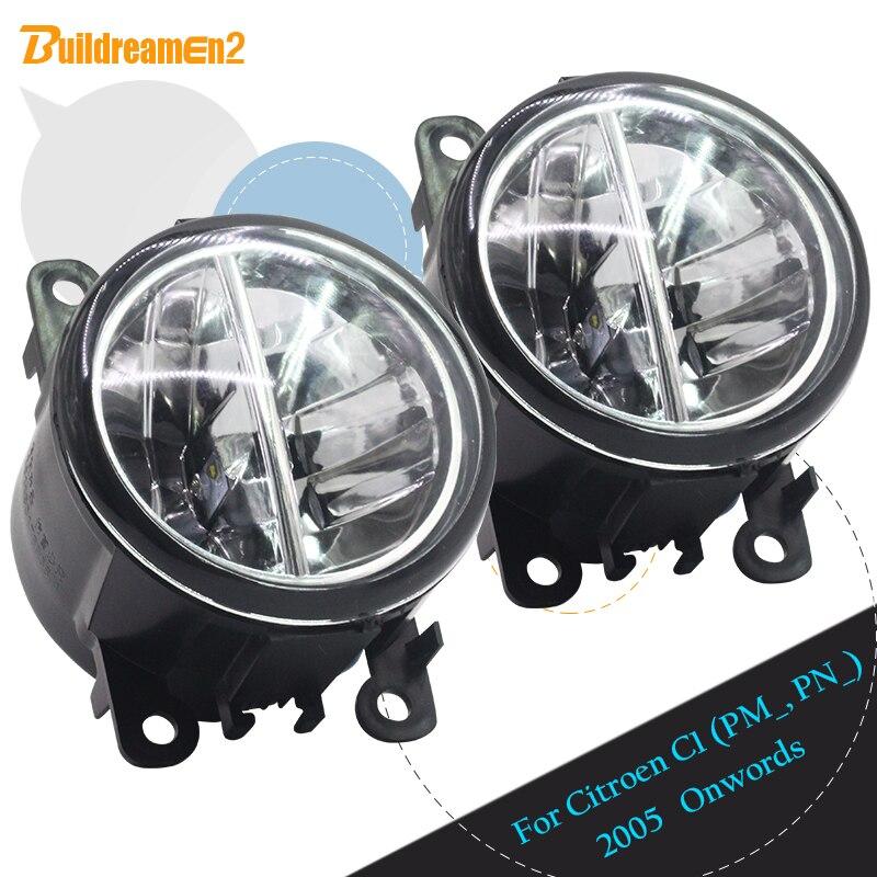 Buildreamen2 Pour Citroen C1 (PM _, PN _) hayon 2005 Partir Car Styling LED Lampe de Brouillard de Lumière Daytime Running Light DRL Blanc 12 v
