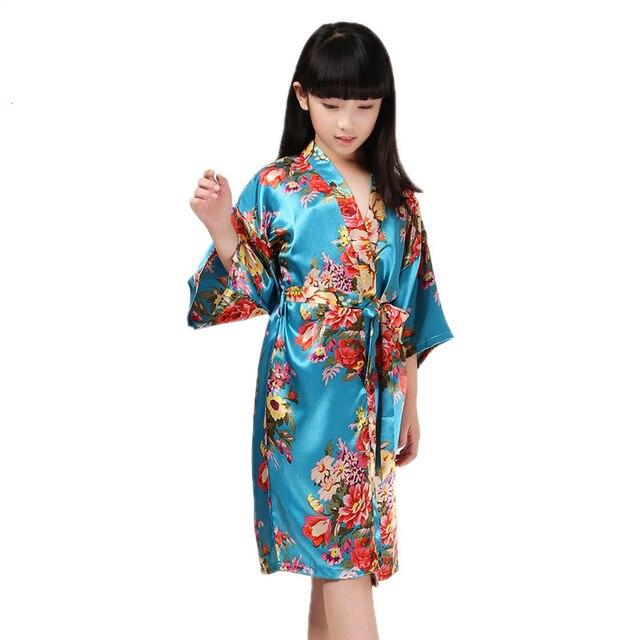 e73892fa22e82e 8 kolorów baby szlafroki dla dziewczynek szlafroki plama jedwabiu Kimono  szlafrok kąpielowy dzieci dzieci peignoir enfant