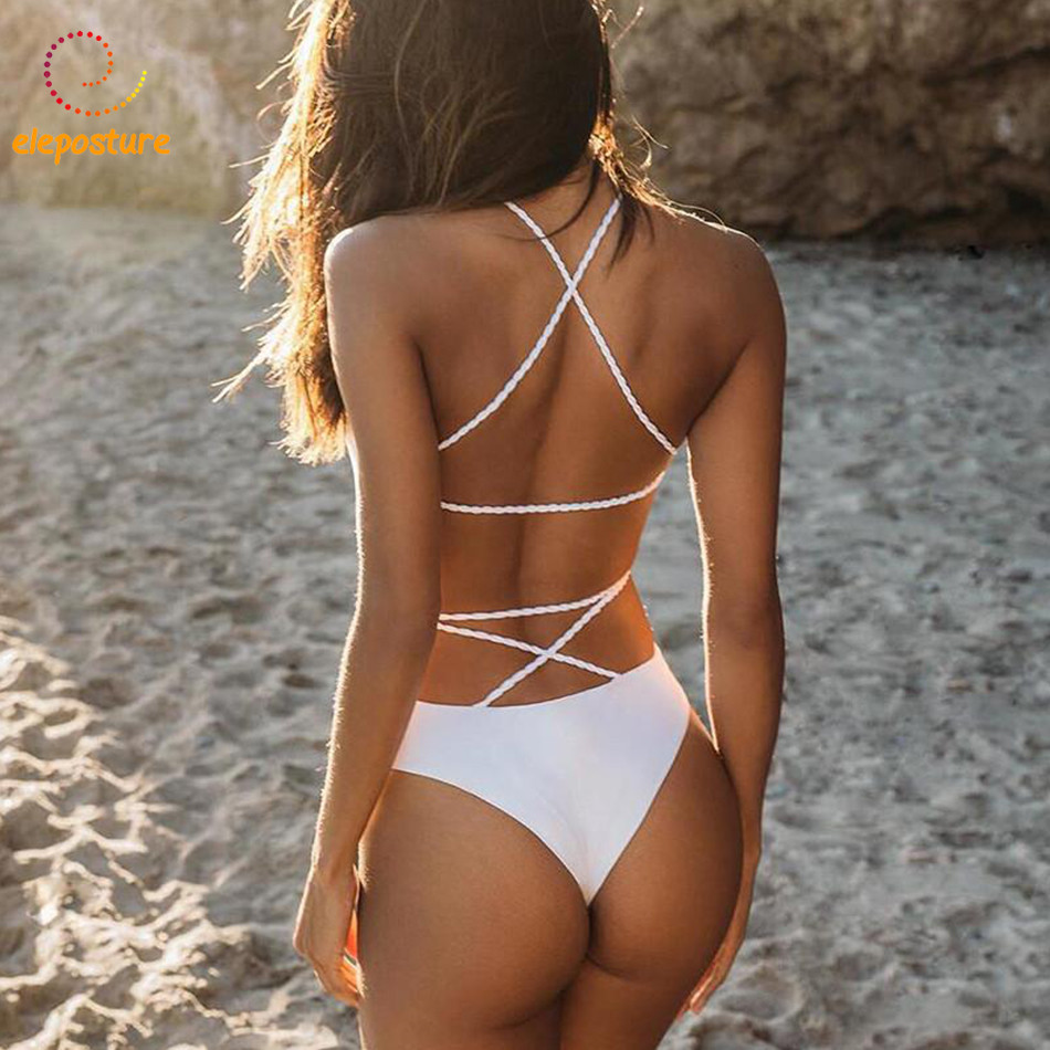 2018 New Sexy One Piece Swimsuit Solid Swimwear Women Bandage Monokini Swimsuit Backless Bathing Suit Beachwear Maillot De Bain m&m off the shoulder ruffle swimwear women swimsuit maillot de bain monokini thong swim wear one piece swimsuit bathing suit