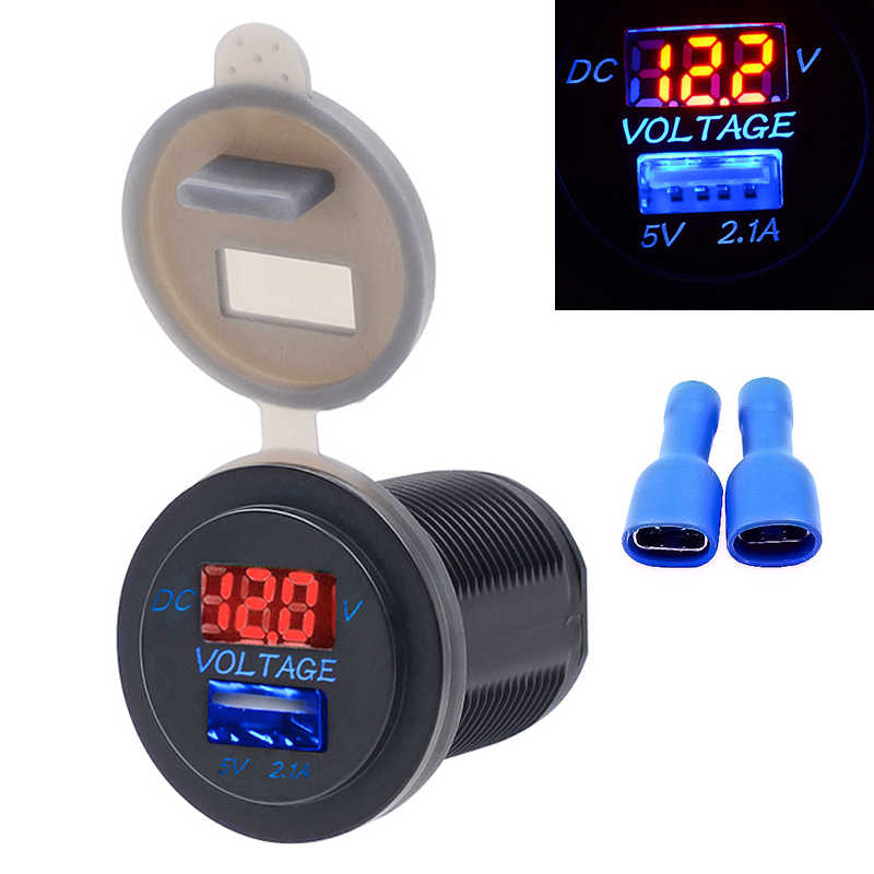 2.1A LED Car USB Socket Charger Outlet with Voltmeter Modification Accessory for Motorcycle Motor Truck ATV Boat 12-24V