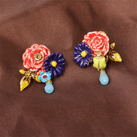 Warmhome Classic Jewelry Enamel Glaze Copper Romantic Red Peony Flower Blue Water Droplets For Women Earrings Stud