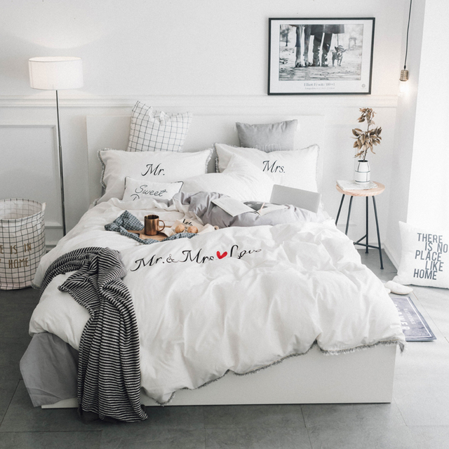 Washed Cotton Solid Color Duvet Cover Set The Letters Embroidered Bedlinens Twin Queen King Size Bedding