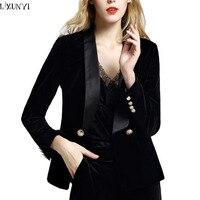 LXUNYI Autumn 2018 Black Velvet Coat jacket Women Long Sleeve Slim Double Breasted Blazer Women Gold Buttons Suit Ladies Blazers