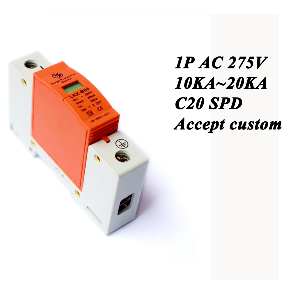 Hot sale C20-1P 10KA~20KA ~275V AC SPD House Surge Protector Protective Low-voltage Arrester Device Lightning protection ...