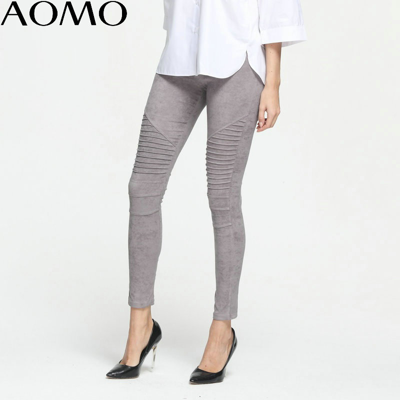 AOMO Fashion Women Faux Suede Leggings Winter Pleated Elastic Waist Fleece Trouser Pants Cozy Casual Warm Lady Pants Black KM